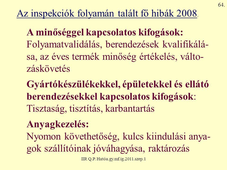 Az inspekciók folyamán talált fő hibák 2008.