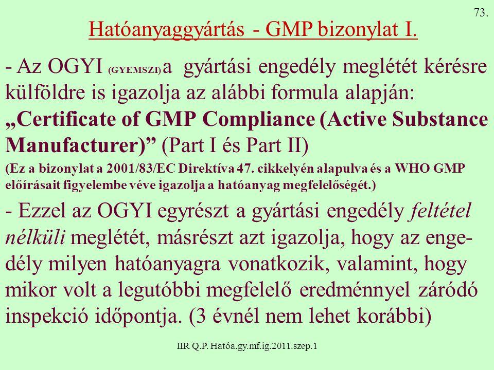 Hatóanyaggyártás - GMP bizonylat I.