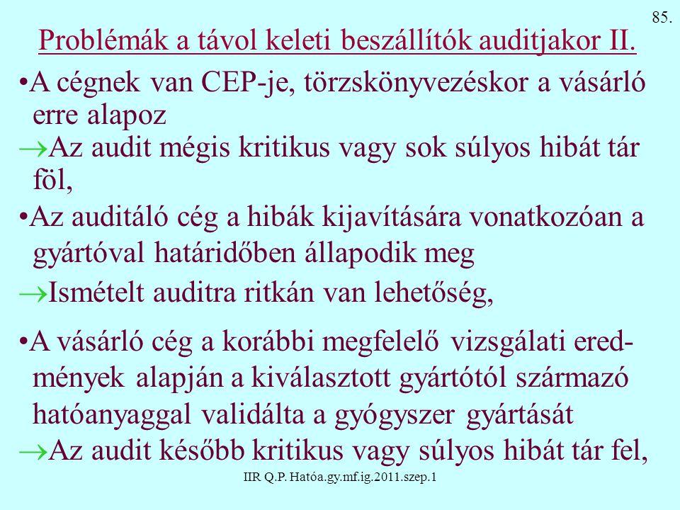 Problémák a távol keleti beszállítók auditjakor II.