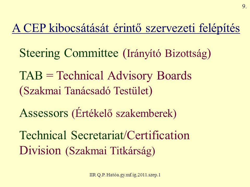 A CEP kibocsátását érintő szervezeti felépítés