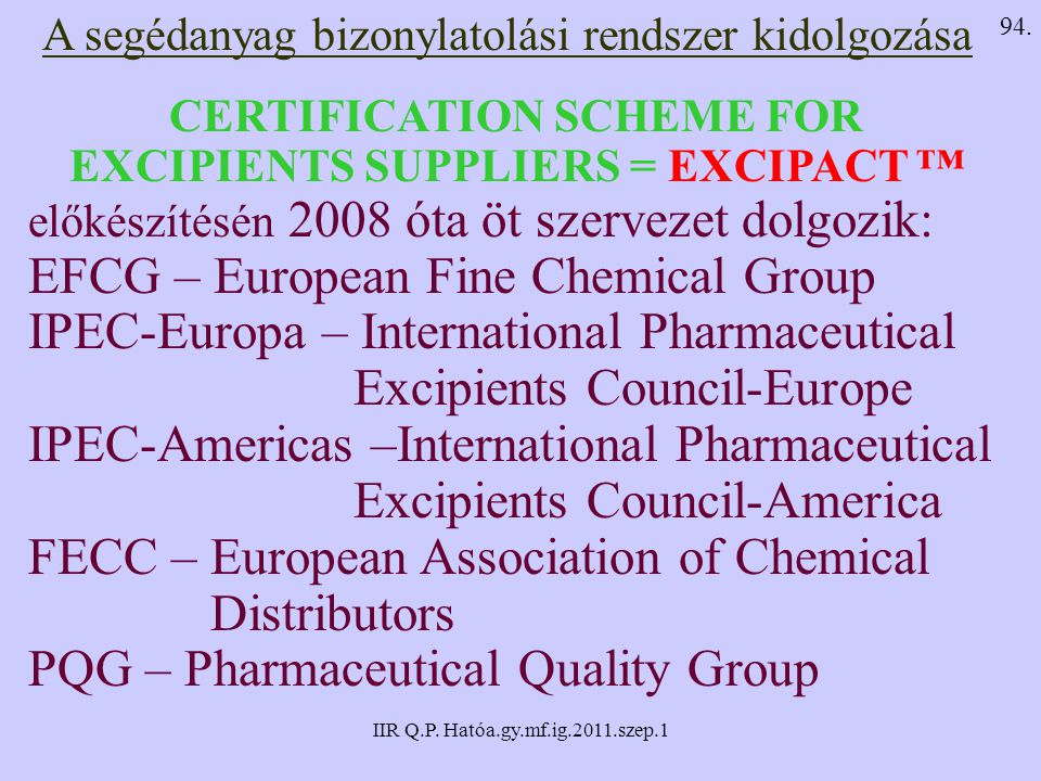 CERTIFICATION SCHEME FOR EXCIPIENTS SUPPLIERS = EXCIPACT ™