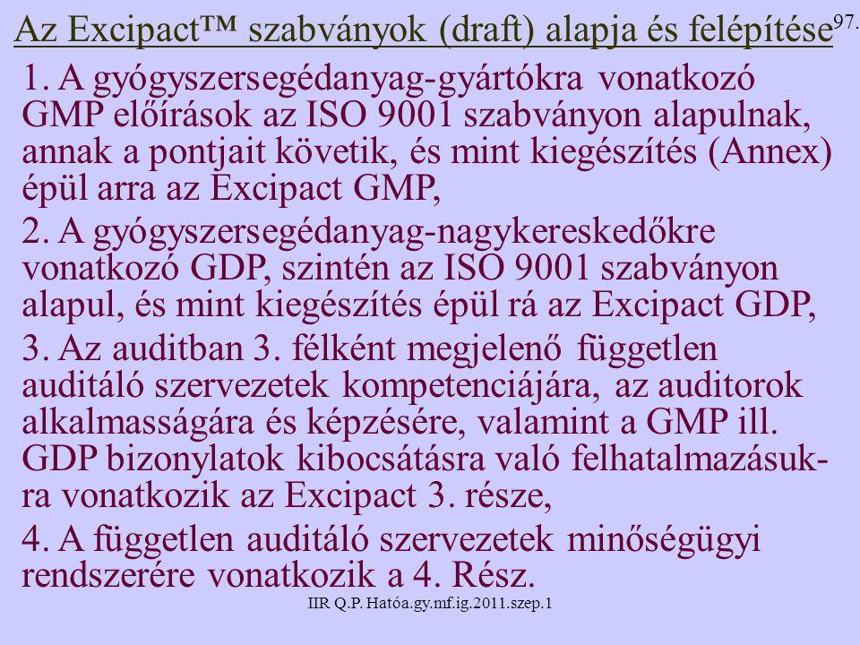 Az Excipact™ szabványok (draft) alapja és felépítése
