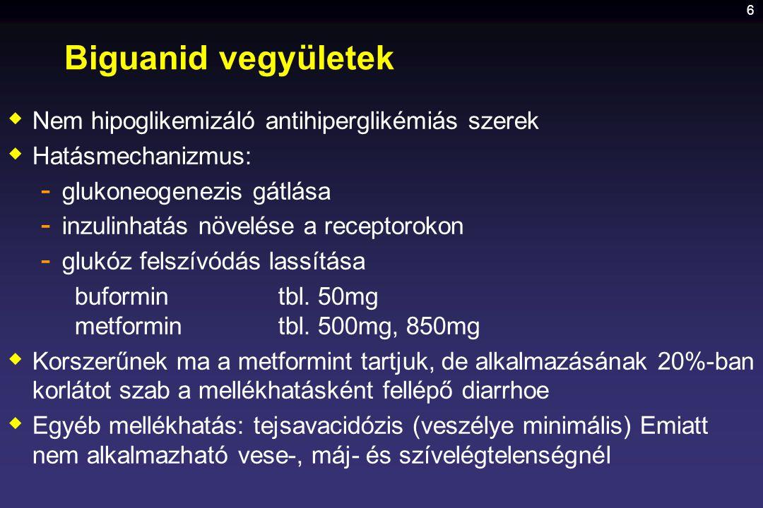 Biguanid vegyületek Nem hipoglikemizáló antihiperglikémiás szerek