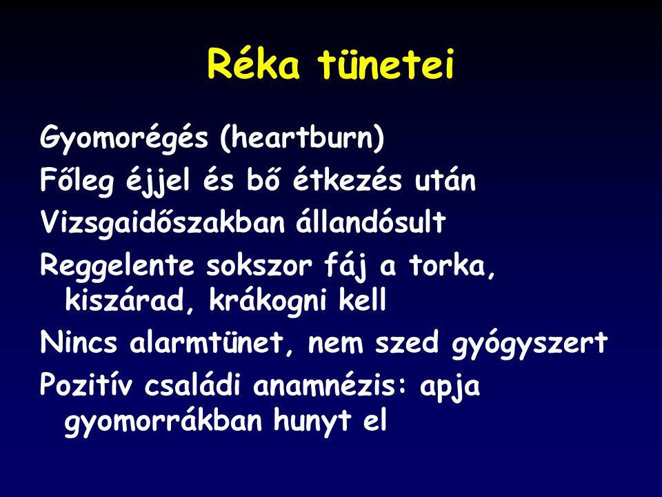 Réka tünetei Gyomorégés (heartburn) Főleg éjjel és bő étkezés után