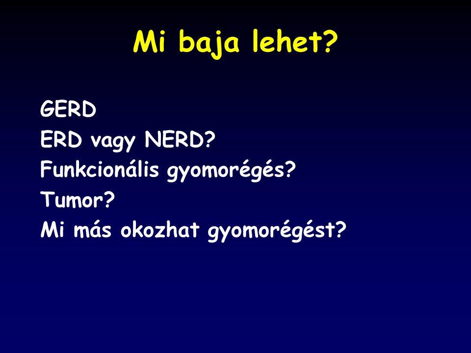 Mi baja lehet GERD ERD vagy NERD Funkcionális gyomorégés Tumor