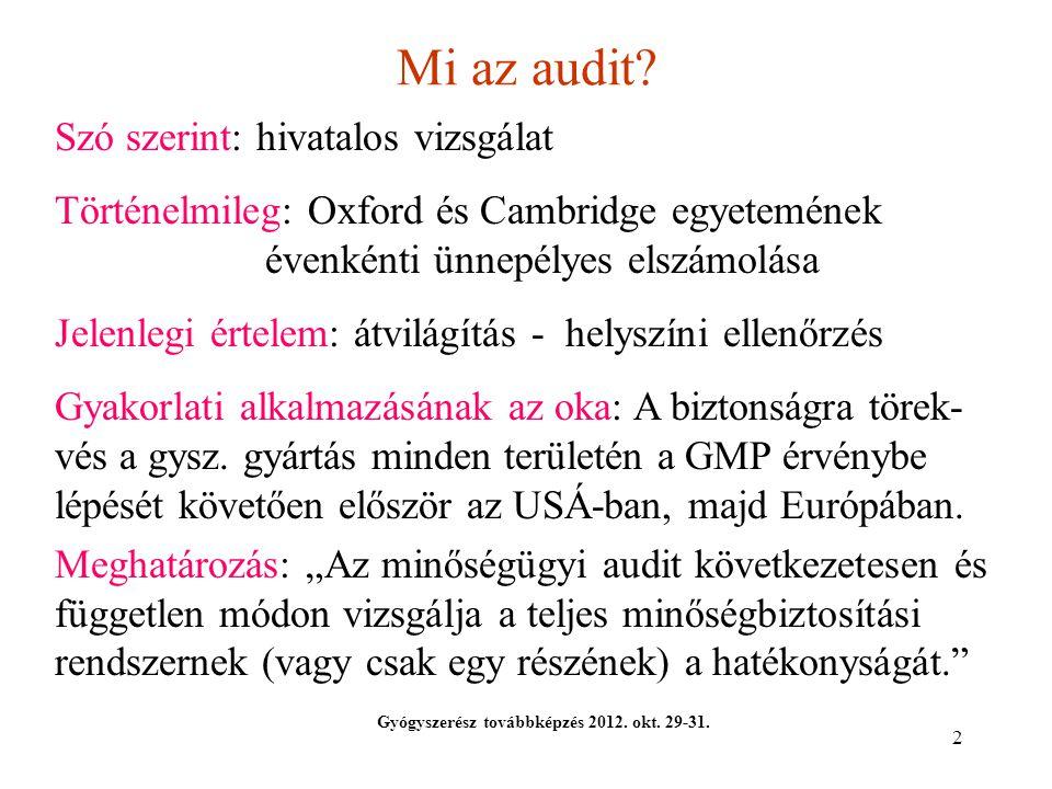 Mi az audit Szó szerint: hivatalos vizsgálat