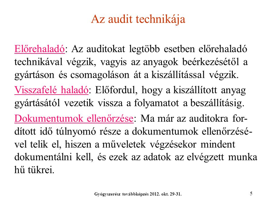 Gyógyszerész továbbképzés 2012. okt. 29-31.