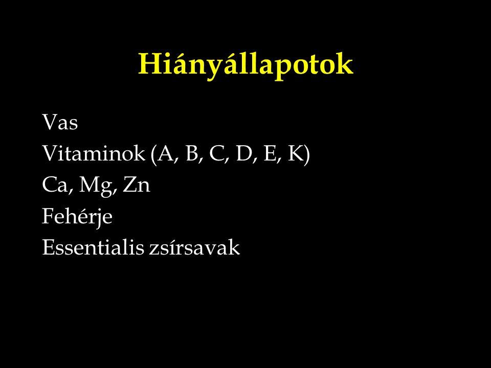 Hiányállapotok Vas Vitaminok (A, B, C, D, E, K) Ca, Mg, Zn Fehérje