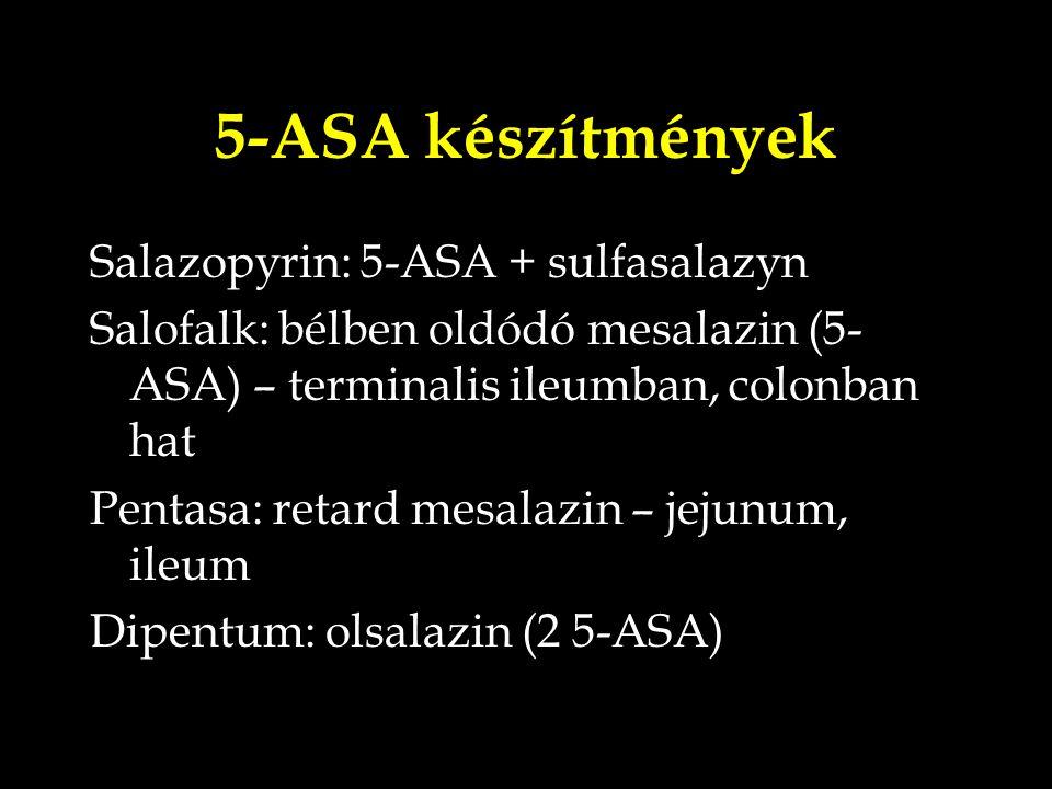 5-ASA készítmények Salazopyrin: 5-ASA + sulfasalazyn