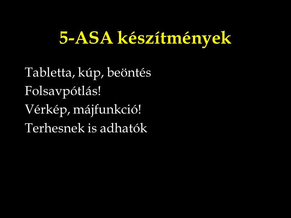 5-ASA készítmények Tabletta, kúp, beöntés Folsavpótlás!