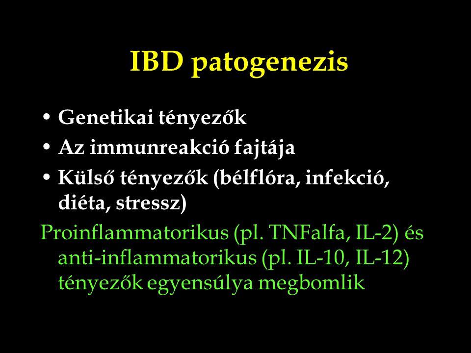 IBD patogenezis Genetikai tényezők Az immunreakció fajtája