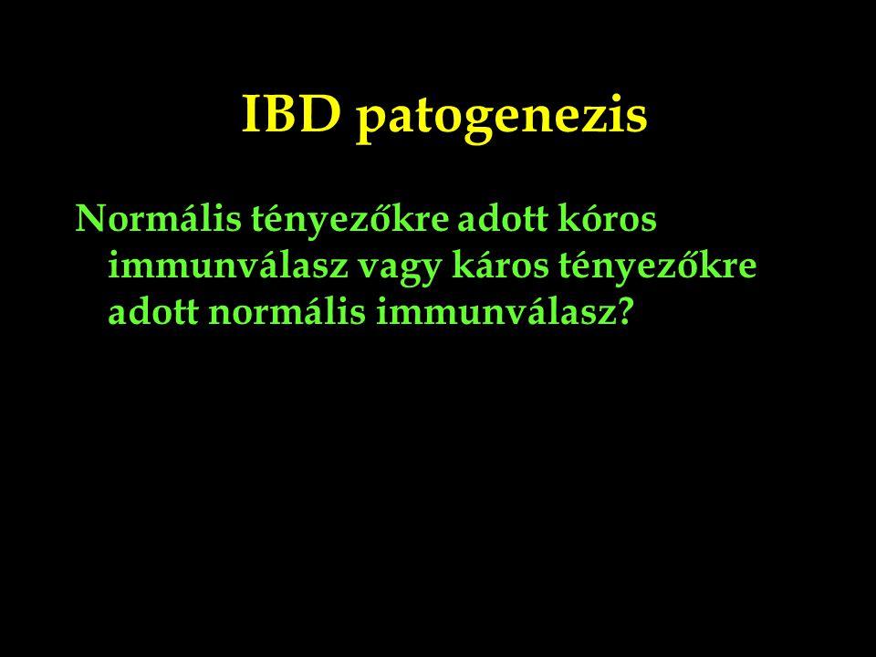 IBD patogenezis Normális tényezőkre adott kóros immunválasz vagy káros tényezőkre adott normális immunválasz