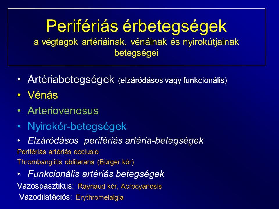 Perifériás érbetegségek a végtagok artériáinak, vénáinak és nyirokútjainak betegségei