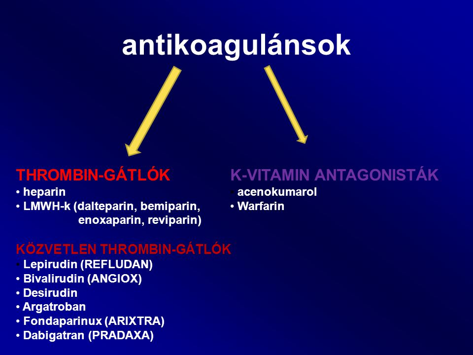 antikoagulánsok THROMBIN-GÁTLÓK K-VITAMIN ANTAGONISTÁK