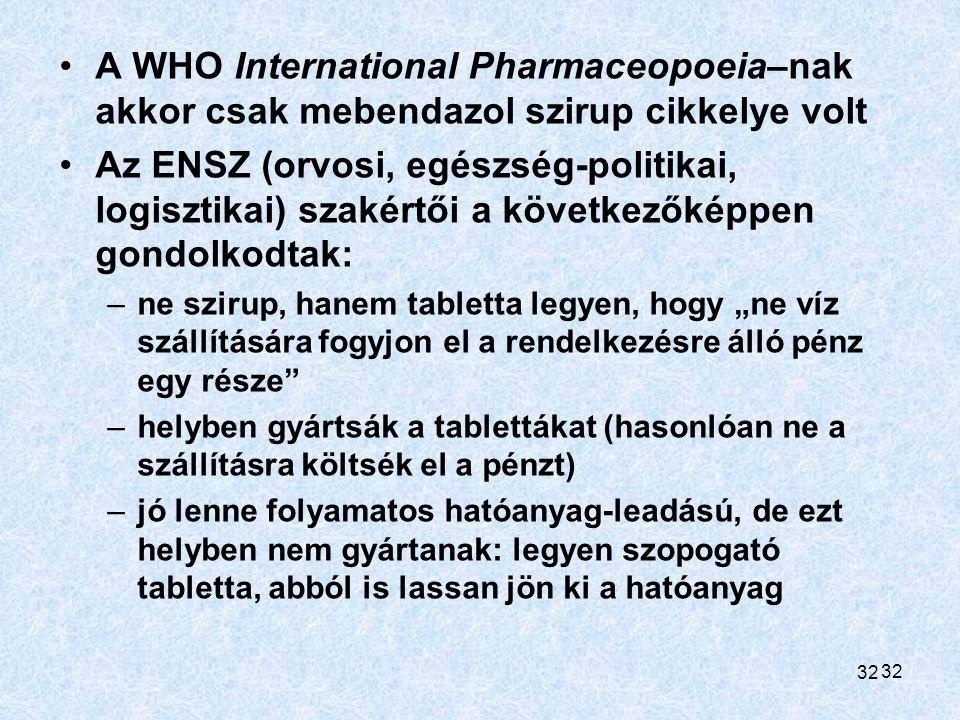 A WHO International Pharmaceopoeia–nak akkor csak mebendazol szirup cikkelye volt