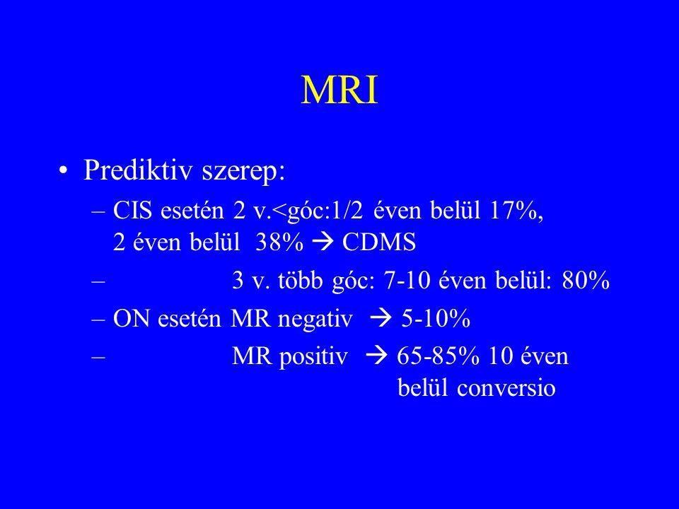 MRI Prediktiv szerep: CIS esetén 2 v.<góc:1/2 éven belül 17%, 2 éven belül 38%  CDMS.