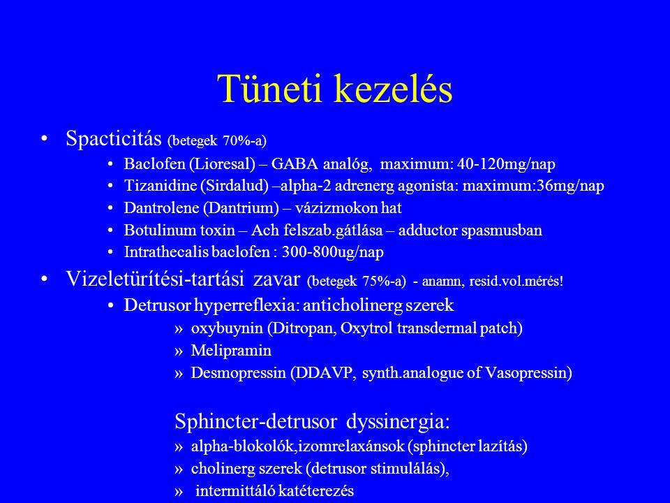 Tüneti kezelés Spacticitás (betegek 70%-a)