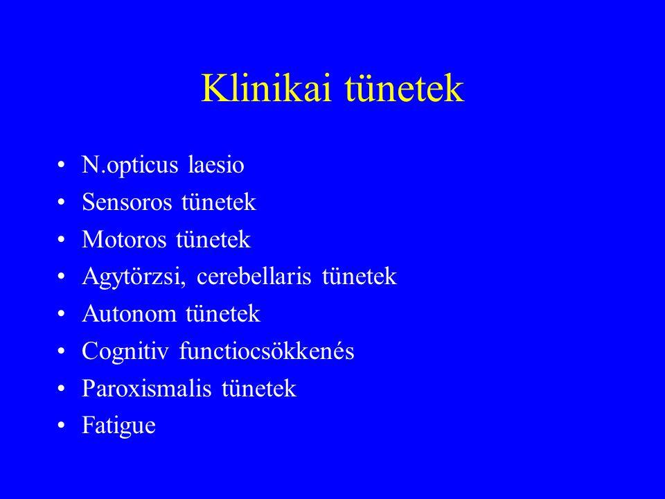 Klinikai tünetek N.opticus laesio Sensoros tünetek Motoros tünetek
