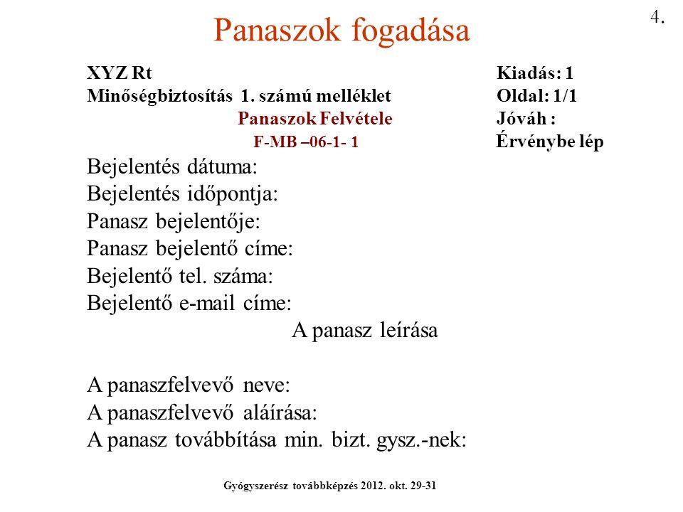 Panaszok fogadása Bejelentés dátuma: Bejelentés időpontja: