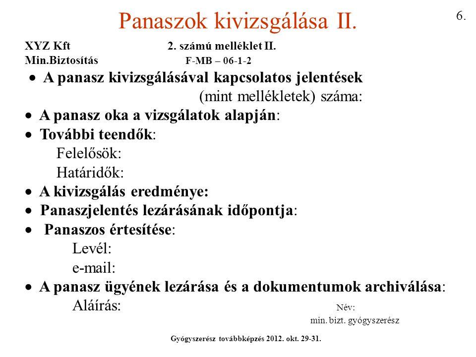 Panaszok kivizsgálása II.