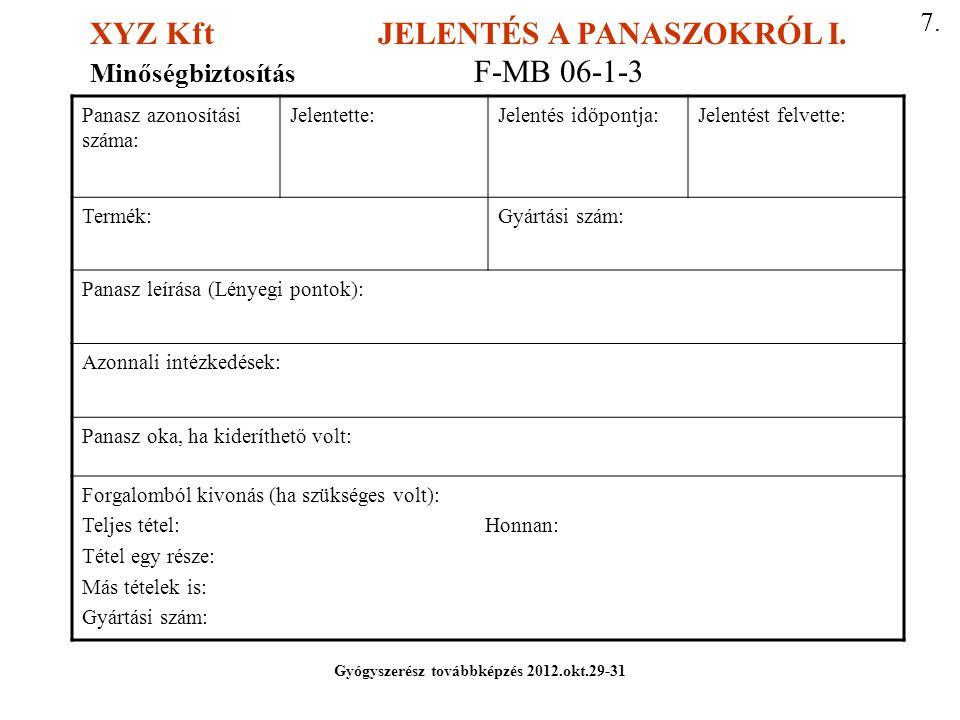 Gyógyszerész továbbképzés 2012.okt.29-31
