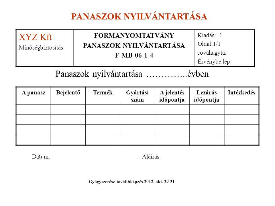 PANASZOK NYILVÁNTARTÁSA Gyógyszerész továbbképzés 2012. okt. 29-31