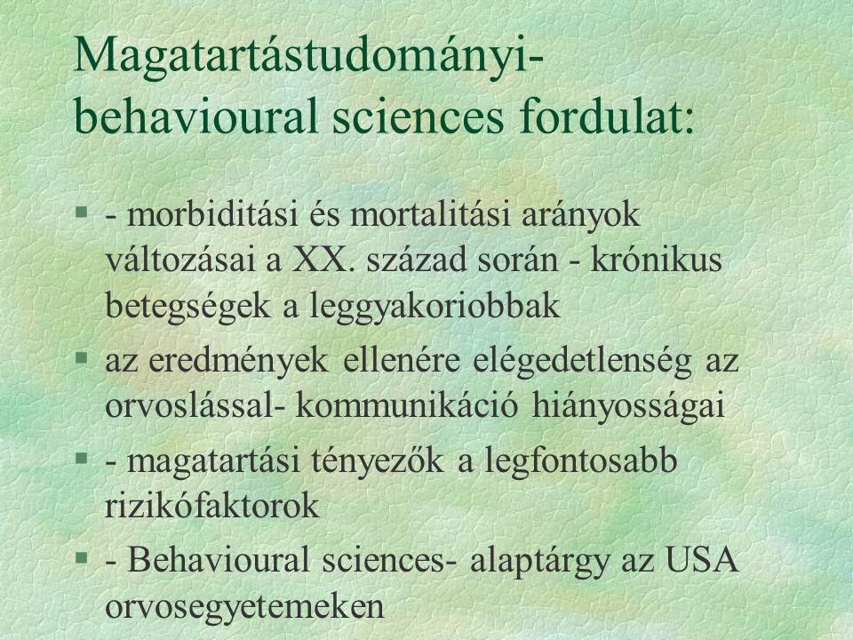 Magatartástudományi- behavioural sciences fordulat:
