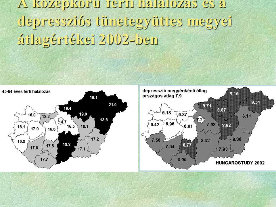 A középkorú férfi halálozás és a depressziós tünetegyüttes megyei átlagértékei 2002-ben