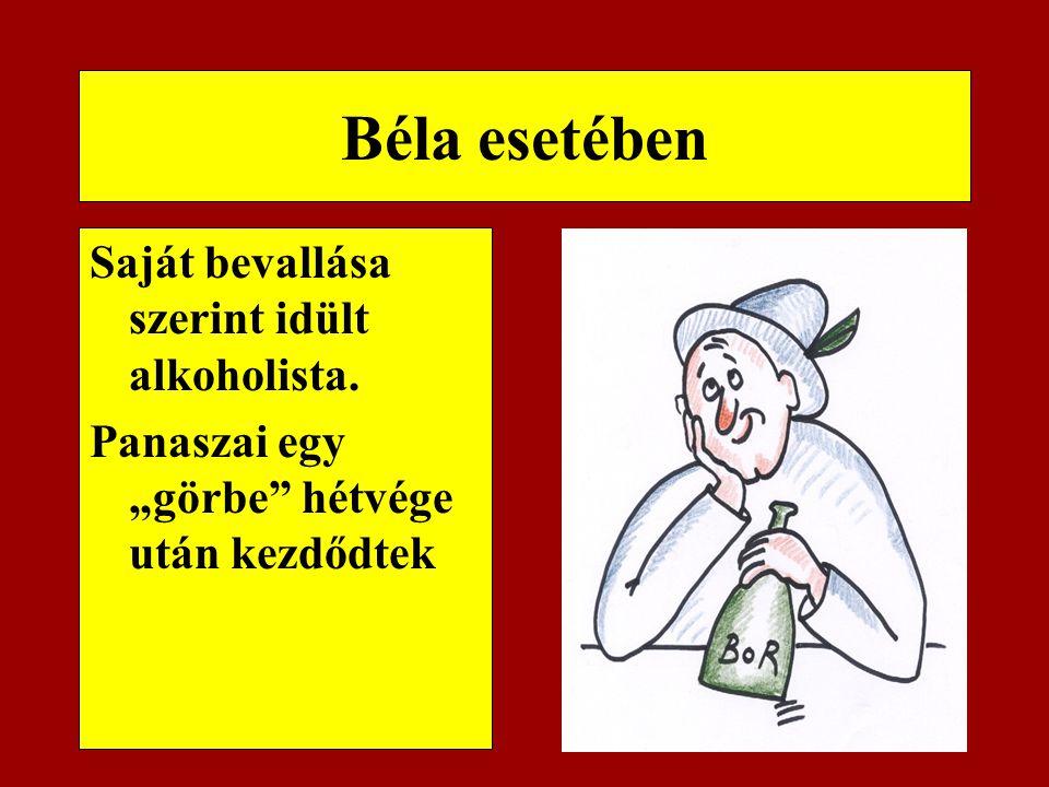 Béla esetében Saját bevallása szerint idült alkoholista.
