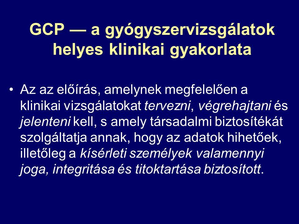GCP — a gyógyszervizsgálatok helyes klinikai gyakorlata