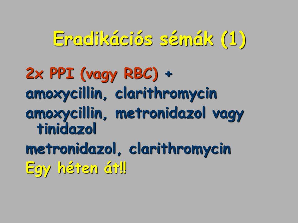 Eradikációs sémák (1) 2x PPI (vagy RBC) + amoxycillin, clarithromycin
