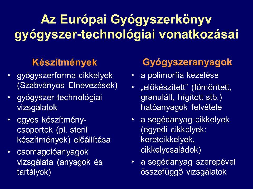 Az Európai Gyógyszerkönyv gyógyszer-technológiai vonatkozásai