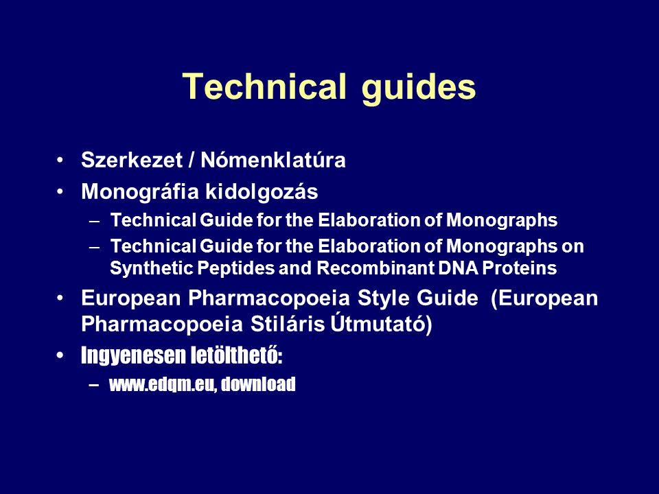 Technical guides Szerkezet / Nómenklatúra Monográfia kidolgozás