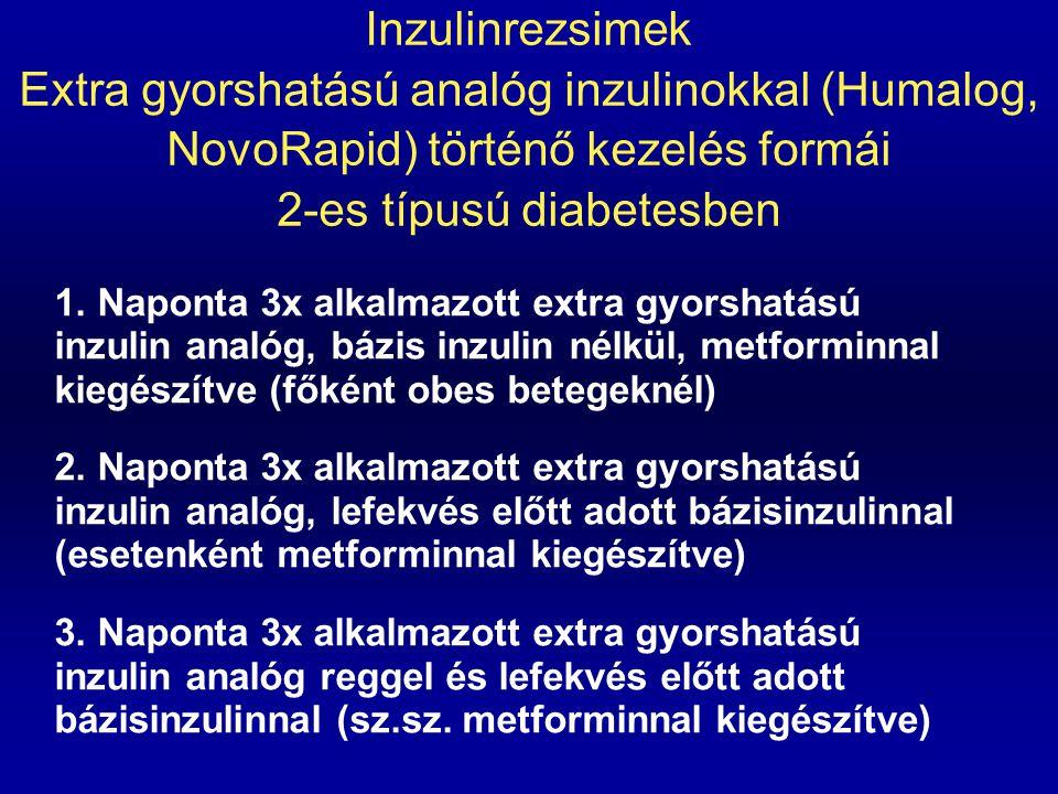 Inzulinrezsimek Extra gyorshatású analóg inzulinokkal (Humalog, NovoRapid) történő kezelés formái 2-es típusú diabetesben