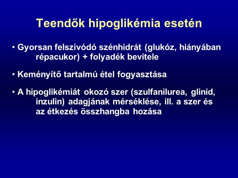 Teendők hipoglikémia esetén