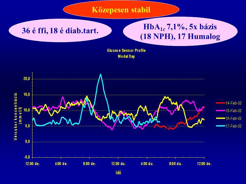 Közepesen stabil HbA1c 7,1%, 5x bázis (18 NPH), 17 Humalog 36 é ffi, 18 é diab.tart.
