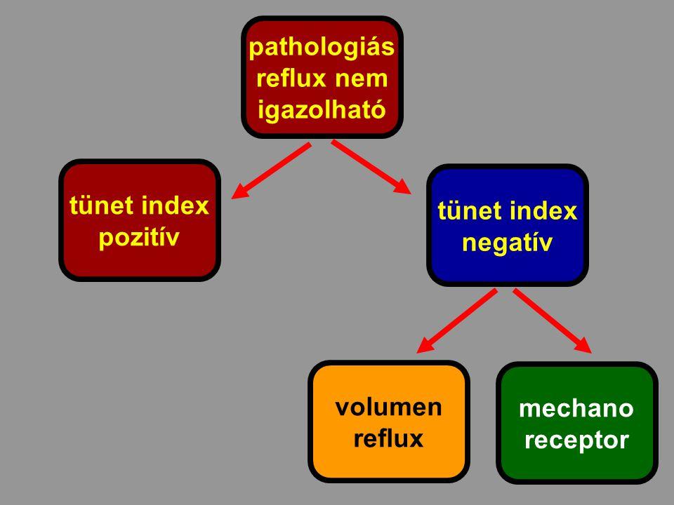 pathologiás reflux nem. igazolható. tünet index. pozitív. tünet index. negatív. volumen. reflux.