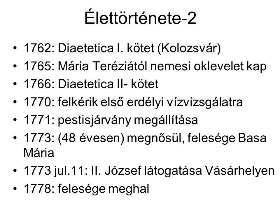 Élettörténete-2 1762: Diaetetica I. kötet (Kolozsvár)