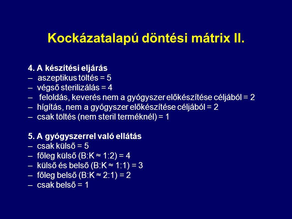Kockázatalapú döntési mátrix II.