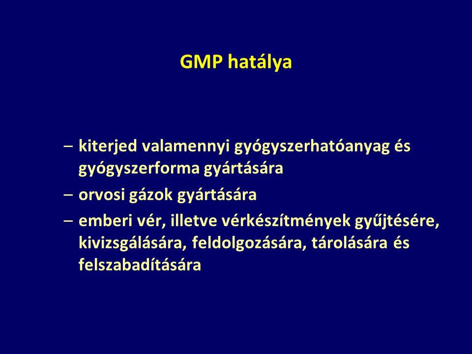 GMP hatálya kiterjed valamennyi gyógyszerhatóanyag és gyógyszerforma gyártására. orvosi gázok gyártására.
