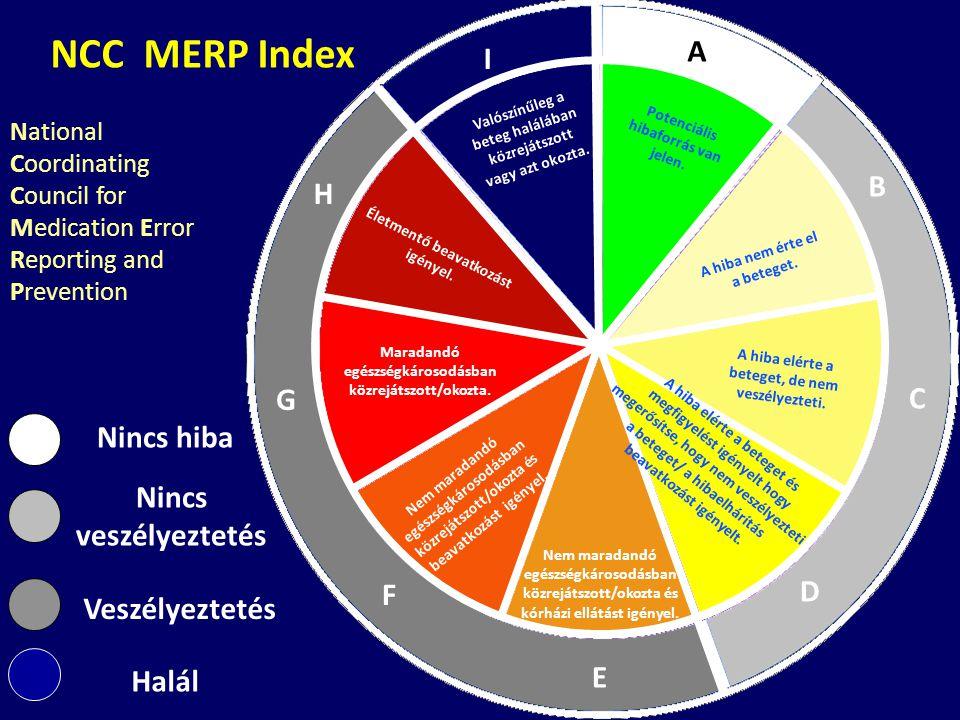 NCC MERP Index A I B H G C Nincs hiba Nincs veszélyeztetés D F