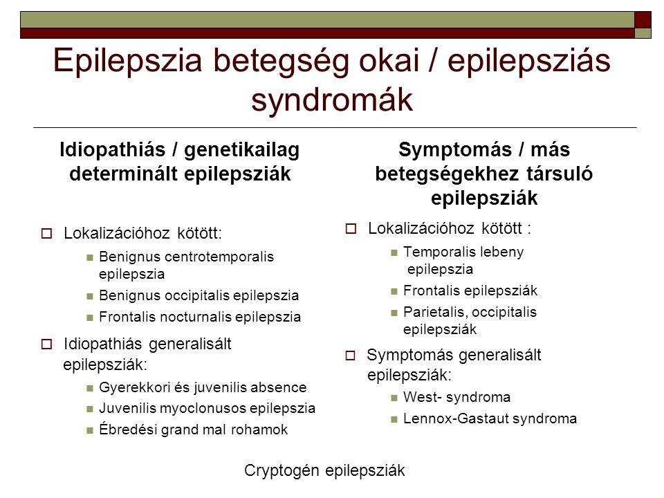 Epilepszia betegség okai / epilepsziás syndromák