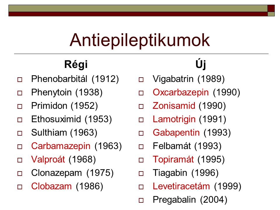 Antiepileptikumok Régi Új Phenobarbitál (1912) Phenytoin (1938)