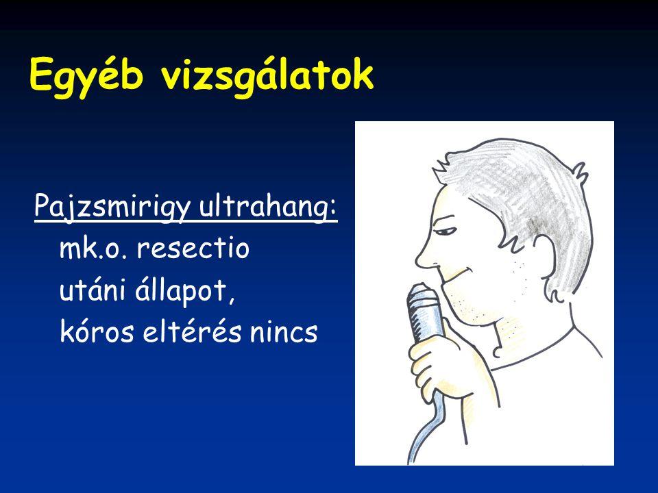 Egyéb vizsgálatok Pajzsmirigy ultrahang: mk.o. resectio utáni állapot,