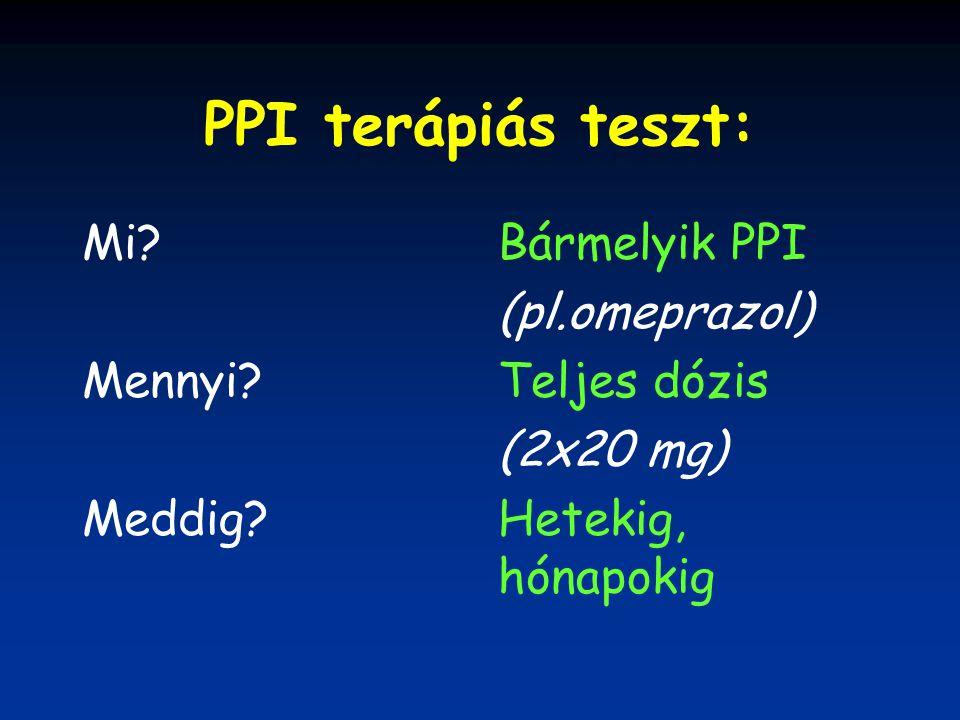 PPI terápiás teszt: Mi Mennyi Meddig Bármelyik PPI (pl.omeprazol)