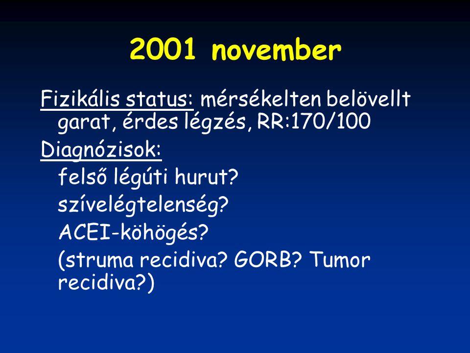 2001 november Fizikális status: mérsékelten belövellt garat, érdes légzés, RR:170/100. Diagnózisok: