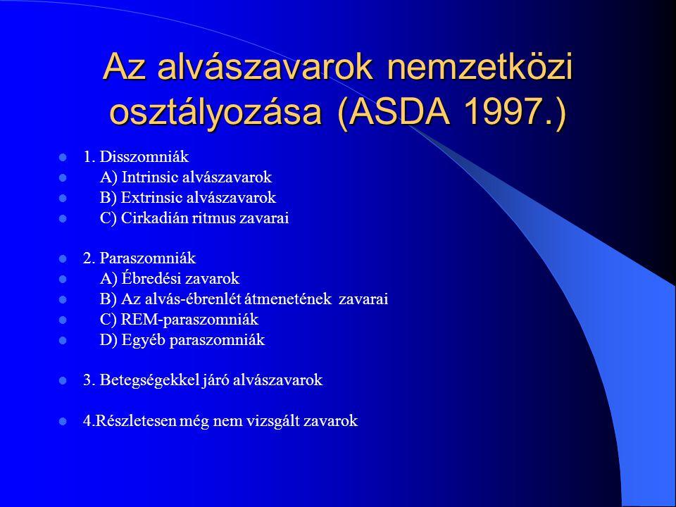 Az alvászavarok nemzetközi osztályozása (ASDA 1997.)