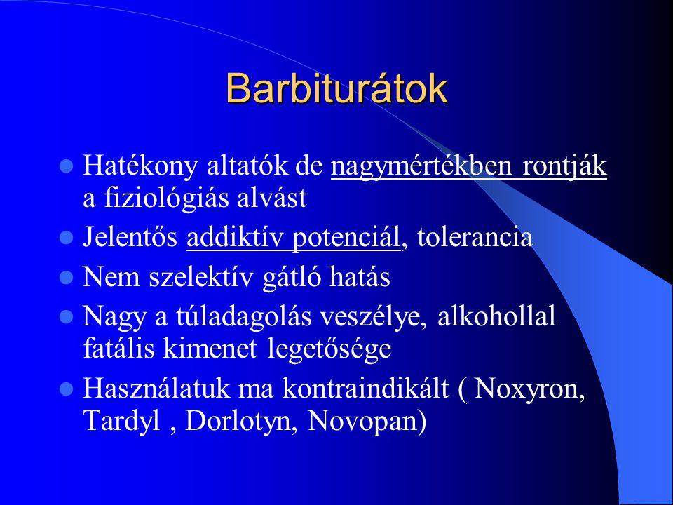 Barbiturátok Hatékony altatók de nagymértékben rontják a fiziológiás alvást. Jelentős addiktív potenciál, tolerancia.