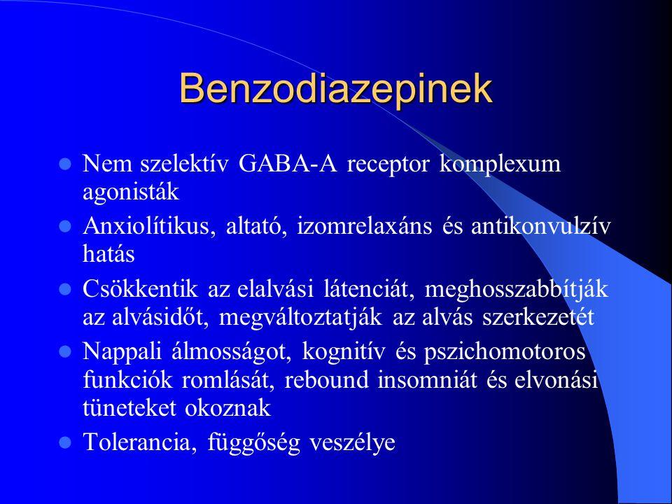 Benzodiazepinek Nem szelektív GABA-A receptor komplexum agonisták