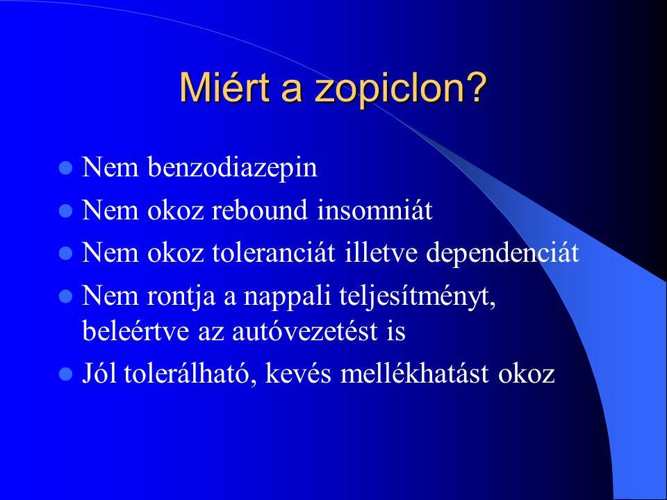Miért a zopiclon Nem benzodiazepin Nem okoz rebound insomniát